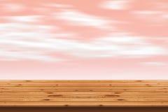 Holzfußbodenstreifen und rosa Himmelhintergrund Lizenzfreie Stockfotografie
