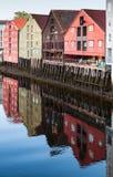 Holzhäuser, alte Stadt von Trondheim, Norwegen Stockbilder