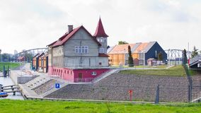 Holzhäuser in Bydgoszcz, Polen Lizenzfreies Stockfoto
