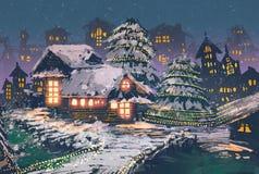 Holzhäuser mit Weihnachtslichtern lizenzfreie abbildung