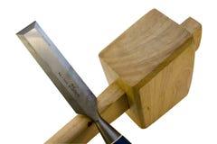 Holzhammer und Meißel Stockbilder