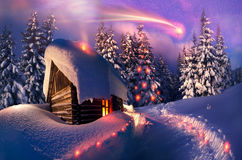 Holzhaus als Santa Claus Stockfotografie