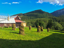 Holzhaus auf grüner Wiese von Zdiar-Dorf stockfotos