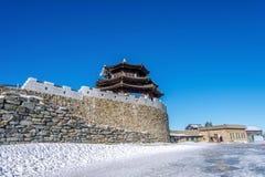 Holzhaus im Winter, Deogyusan-Berge Korea Stockfotografie