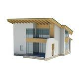 Holzhaus mit einem grünen Dach Stockfotos