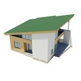 Holzhaus mit einem grünen Dach Lizenzfreies Stockbild