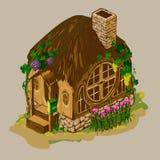 Holzhaus mit einem Ziegelsteinkamin Stockfotos