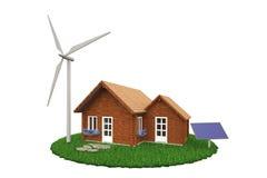 Holzhaus mit Windkraftanlage und Sonnenkollektor Stockbilder