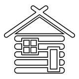 Holzhaus-Scheune mit flachem Artbild der hölzernen modularen Ikonenschwarzfarbvektorillustration der Kabine der Blockhäuser hölze lizenzfreie abbildung