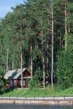 Holzhaus steht in einer Kiefernwaldung auf der Flussbank Stockfoto