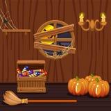 Holzhauskeller, Halloween-Symbole Stockfoto