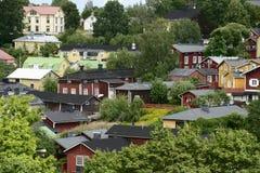 Holzhäuser im alten Bezirk von Porvoo, Finnland Stockfotografie