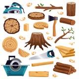 Holzindustrie-flacher Satz lizenzfreie abbildung