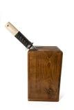 Holzkiste für Messer Stockfoto