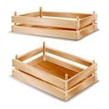 Holzkiste-Vektor Leerer hölzerner Rahmen Leerer Frucht-Kasten auf weißer Hintergrundillustration Lizenzfreies Stockbild