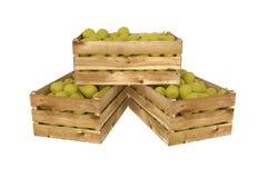 Holzkiste voll Birnenfrucht Getrennt auf weißem Hintergrund vektor abbildung