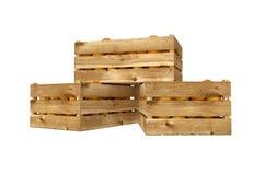 Holzkiste voll Pfirsichfrucht Getrennt auf weißem Hintergrund vektor abbildung