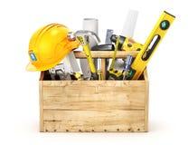 Holzkiste voll Werkzeuge Stockfotografie