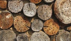 Holzklötze mit Bienenhäusern lizenzfreie stockbilder