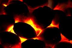 Holzkohle bricket Feuer für Grill Stockbild
