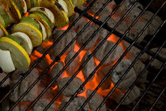 Holzkohle-Grill-Kohlen u. Gemüseaufsteckspindeln Stockfotografie