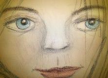 Holzkohle-Hand gezeichnetes Mädchen Stockfoto