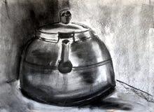 Holzkohle-Kessel Stockbild