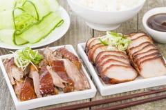 Holzkohle Siu Pork u. Peking-Ente Lizenzfreies Stockbild
