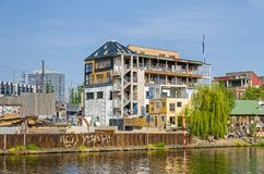 Holzmarkt - an urban village, a huge regeneration project and the alternative cultural complex in Berlin. Berlin, Germany - April 22, 2018: Holzmarkt - an urban stock photo