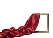 Holzrahmen des Silk Satingewebebeschaffenheitshintergrundes Lizenzfreies Stockbild
