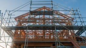 Holzrahmen im Bau von Häusern Lizenzfreies Stockbild