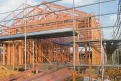 Holzrahmen im Bau von Häusern Lizenzfreies Stockfoto