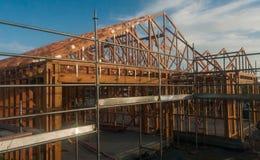 Holzrahmen im Bau von Häusern Stockbild