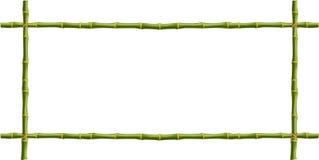 Holzrahmen von grünen Bambusstöcken mit Raum für Text Stockbild