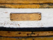 Holzschild als Schiffdetail Lizenzfreie Stockfotografie