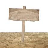 Holzschild auf dem Boden Stockbild