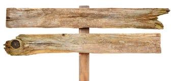 Holzschild auf Weiß Stockfotos