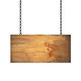 Holzschild, das an einer Kette lokalisiert auf Weiß hängt Lizenzfreies Stockbild