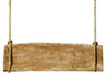Holzschild, das vom Seil hängt Lizenzfreies Stockbild