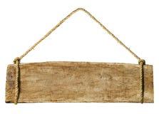 Holzschild, das vom Seil-Konzept hängt lizenzfreie stockbilder