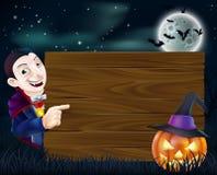 Holzschild Halloweens Dracula Stockfoto