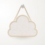 Holzschild mit dem Seil, das an einem Nagel, Wolkendesign für backgr hängt stock abbildung