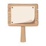 Holzschild mit genageltem Papier. Stockfotografie