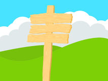 Holzschild mit Rolling Hills Hintergrund Lizenzfreie Stockfotos