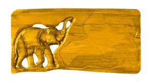 Holzschild-Schnitzen lokalisiert auf weißem Hintergrunddesign Stockfoto