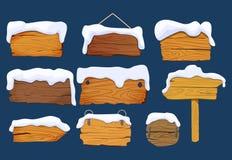 Holzschildbretter mit Schnee Gesetzte verschiedene Holzschilder verschalt Formen, Vektorelemente Vektorabbildung getrennt lizenzfreie abbildung