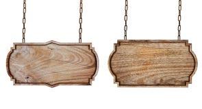 Holzschilder mit Kette lizenzfreies stockfoto