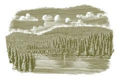 Holzschnitt-Brücke über Fluss stock abbildung