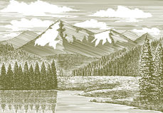 Holzschnitt-Gebirgsfluss stock abbildung