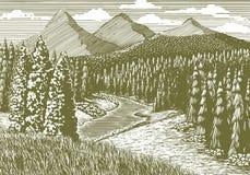 Holzschnitt-Gebirgsstrom stock abbildung